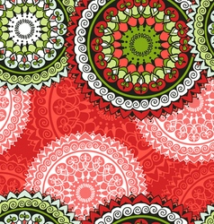 Seamless pattern with circular floral ornament vector image