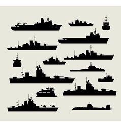 silhouettes of warships vector image vector image