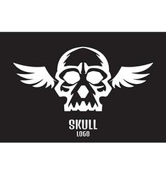 Skull logo wings vector