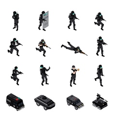 Special weapons unit isometric icons collection vector