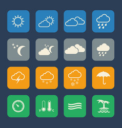 Weather icons set flat design for website and vector