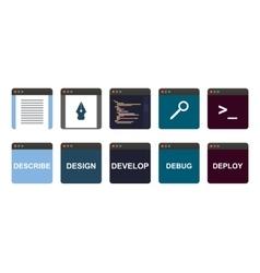 Web development process descripe design develop vector
