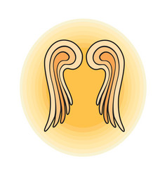 wings angel sign outline vector image vector image