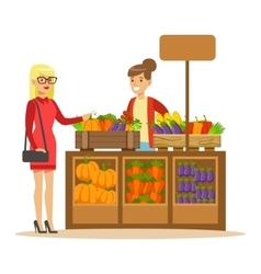 Woman Buying Fresh Vegetables From Farmer Working vector image