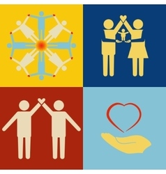 People support icon set vector