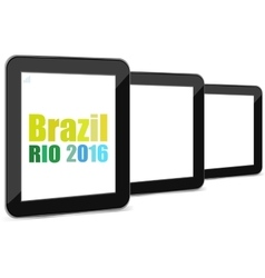 Brazil rio 2016 summer games tablet pc set vector