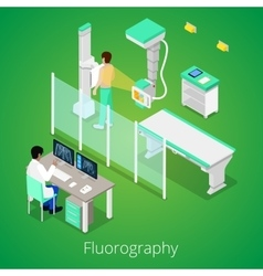 Isometric radiology fluorography procedure vector