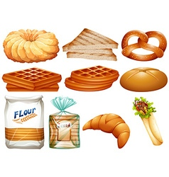 Different kinds of bread and desserts vector