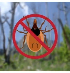 Warning symbol parasite sign spider mites red vector
