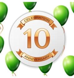 Golden number ten years anniversary celebration on vector
