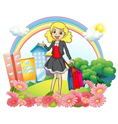 A woman with shopping paper bags vector