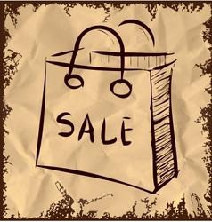 Sale bag icon on vintage background vector image