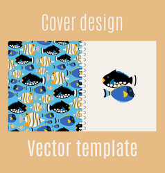 Cover design with sea fish pattern vector