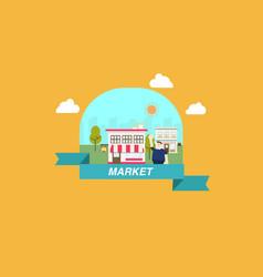 Flat market scene on frame vector