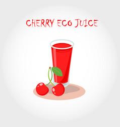 Glass of bio fresh cherry juice text title vector