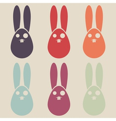 Easter rabbit colorful collection vector