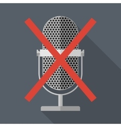 Crossed microphone icon vector