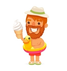 Bearded man with ice cream on the beach vector