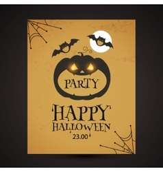 Halloween party design template with pumpkin vector