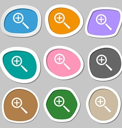 Magnifier glass zoom tool icon sign multicolored vector