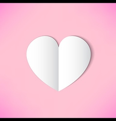 White paper heart on pink background vector