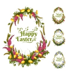 Set of floral color eggs for easter vector
