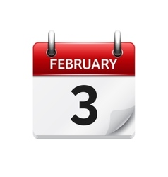 February 3 flat daily calendar icon date vector