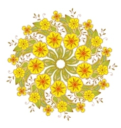 Colorful mendie mandala with flowers and leaves vector