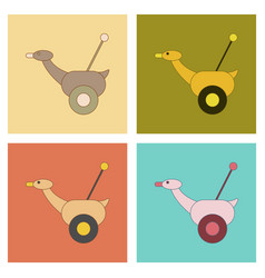 Assembly flat icons kids toy duck vector