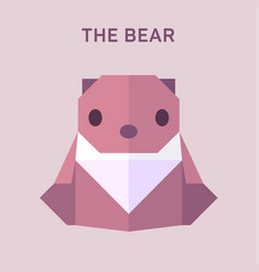 Bear animals origami flat vector
