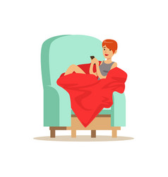 beautiful girl sitting on a light blue armchair vector image vector image