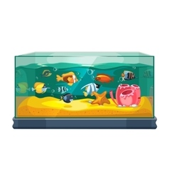 Cartoon freshwater fishes in tank aquarium vector