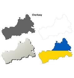 Cherkasy blank outline map set vector