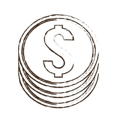 Coin money dollar sketch vector