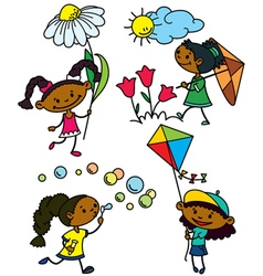 cute afroamerican girls characters vector image vector image