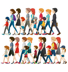 Faceless people walking in group vector