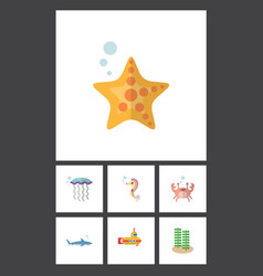 Flat icon nature set of cancer seaweed sea star vector