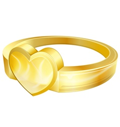 Gold ring with heart vector