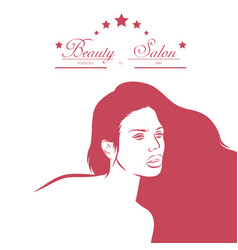 hair salon design with woman vector image vector image