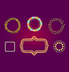 holidays christmas or casino lights frames vector image vector image
