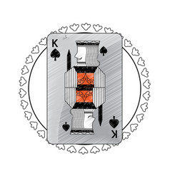 King of spades suit circle emblem french playing vector