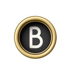 letter b vintage golden typewriter button vector image