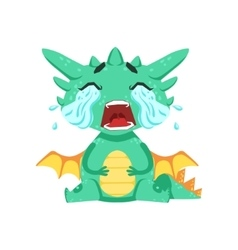 Little anime style baby dragon crying out loud vector