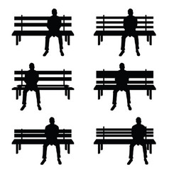 man silhouette set sitting on park benches vector image vector image