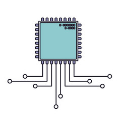 microchip icon with connections in color section vector image