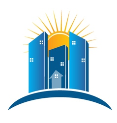 Modern Buildings with sun logo vector image