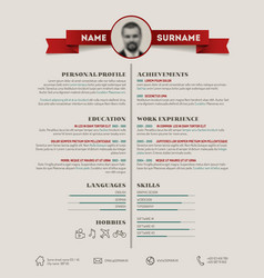 Original cv resume template vector