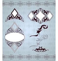Ornamental frames and sign designs set vector image vector image