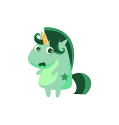 Pale unicorn with green crest vector