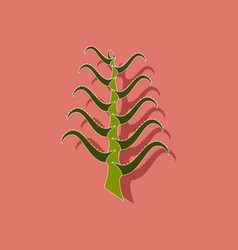 Paper sticker on stylish background plant aloe vector